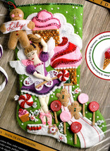 Bucilla Sugarland Fairy Candy Cookie Ballerina Christmas Felt Stocking Kit 86714 - $39.95