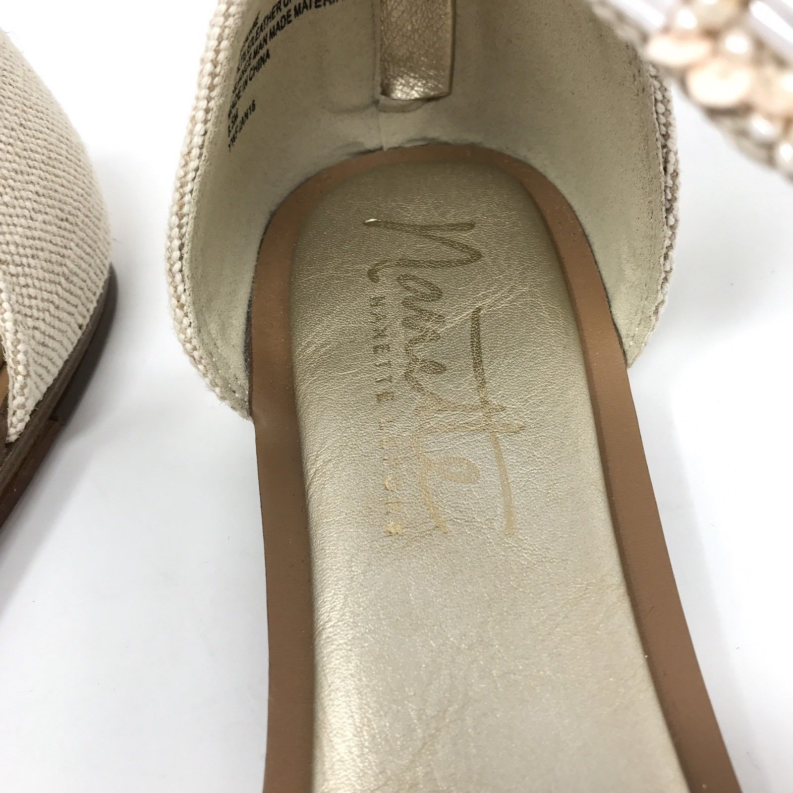 Nanette Lepore Marianne Women's Size 8.5 Ankle Strap Flat Sandals Beaded Natural