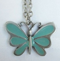 TURQUOISE BLUE ENAMEL BUTTERFLY PENDANT NECKLACE on GROOVED CHAIN Vintage - $7.59