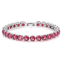 Simulated Ruby Tennis Bracelet 6mm Round Cut Silver over Brass 7 inch - $44.99