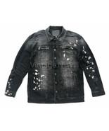 True Religion Mens L Black Distressed Paint Splatter Turner Denim Jacket... - $132.05