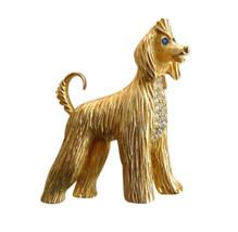 Vintage Erwin Pearl Gold Tone & Rhinestone Afghan Dog Brooch Pin - $75.00
