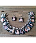 The Beatles Charm Bracelet & Earrings Set Handmade 60's 70's Rock Band - $24.25