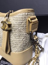 AUTHENTIC Chanel 2018 Beige Tweed  Leather Small Gabrielle Hobo Bag GHW image 4