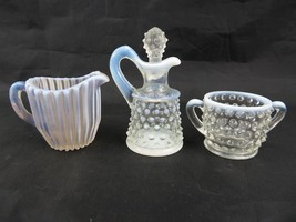 Vintage Fenton opalescent white lot of 3 pieces creamer sugar pitcher st... - $50.00