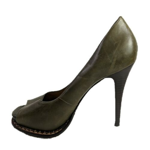 Primary image for Michael Kors Peep Toe Heels Izzie Army Fatique Leather Pumps Womens Size 7.5 M