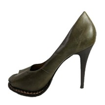 Michael Kors Peep Toe Heels Izzie Army Fatique Leather Pumps Womens Size... - $81.95