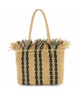 Female bag Square striped straw bag large capacity woven bag shoulder be... - $35.00