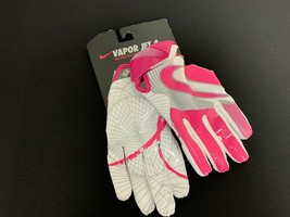 Nike Vapor Jet 4 Breast Cancer Pink & White Football Gloves Youth S #119G - $18.80