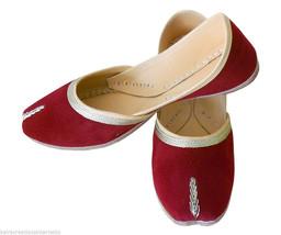 Women Shoes Indian Handmade Traditional Mojari Designer Maroon Jutties US 7  - $24.99