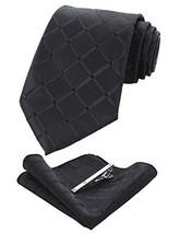 JEMYGINS Plaid Black Tie and Pocket Square Hankerchief Mens Silk Necktie with Ti