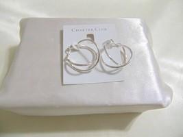 "Charter Club 1-1/4"" Silver Tone Criss Cross Hoop Earrings N922 $24 - $7.25"