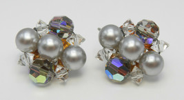 Vintage Laguna Grey Crystal and Pearl Bead ST Earrings - $10.00