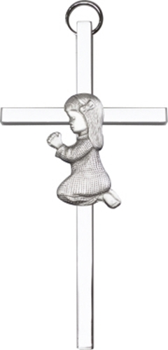 Primary image for Praying Girl Wall Cross - Antique Silver Plated on Polished Silver Finish