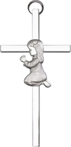 Praying Girl Wall Cross - Antique Silver Plated on Polished Silver Finish - $40.99