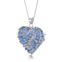 Heart Pendant Forget Me Not Real Flower Jewellery 925 Silver - $58.35