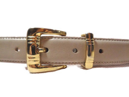 Talbots Women's Beige Leather Belt Vintage Made in Italy Gold Buckle Med... - $13.74
