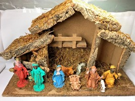 """Vintage Christmas Wood Manger Nativity Scene 19""""x12"""" Made in Italy - $25.79"""