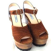 K-PD14083 New Prada Ladies High Heels Platform Suede Shoes Size 37 US 7 ... - $209.99