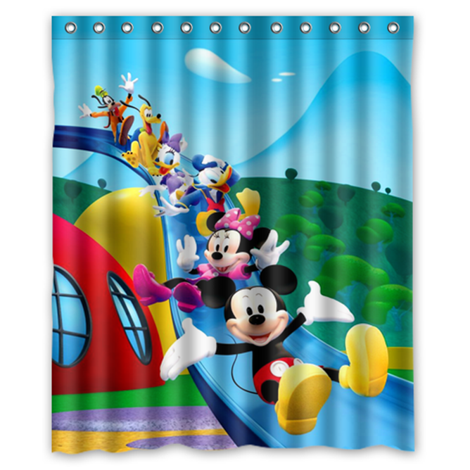 Mickey Mouse And Minnie Mouse #03 Shower Curtain Waterproof Made From Polyester