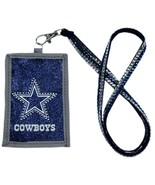 DALLAS COWBOYS BEADED LANYARD ID CREDIT CARD ZIPPER POCKET WALLET NFL FO... - $13.37