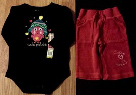 "Girl's Size 6-9 M Months Two Piece Black ""Adorable"" Bird NWT Top, Red Lo... - $14.00"