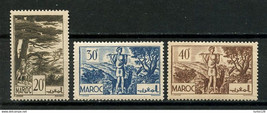 1939 Forest of Cedars Set of 3 French Morocco Stamps Catalog Number 155-57 MNH