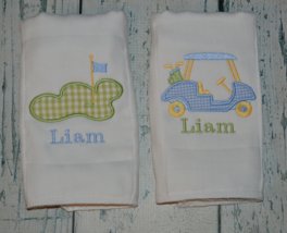 Personalized Golf Baby Boy Burp Cloth set of 2 Monogrammed Golf Cart and Green - $18.00