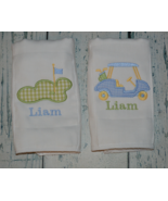 Personalized Golf Baby Boy Burp Cloth set of 2 Monogrammed Golf Cart and... - $18.00
