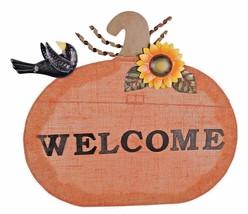 Metal & Linen Pumpkin Welcome Sign Fall Harvest Thanksgiving Stand Decor... - $10.18+