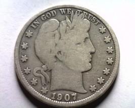1907-D Barber Half Dollar Very Good Vg Nice Original Coin Bobs Coins Fast Ship - $28.00