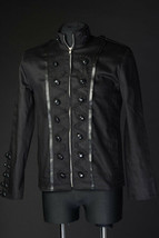 Men's Black Military Jacket Zip Front Cotton Steampunk Goth Victorian Army - $97.92