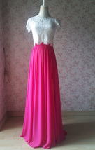 Fuchsia Hot Pink Full Chiffon Skirt Floor Length Summer Bridesmaid Chiffon Skirt image 2