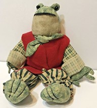 """Decorative Frog Plush Christmas Shelf Sitter Green and Red Jacket 11"""" - $10.62"""
