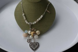 """Silvertone heart and owl and colorful beads necklace. Marked """"sm"""". 34 in... - $29.00"""