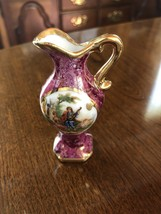 Vintage D'Art Limoges Rose With Gold Plate Miniature Pitcher Musician & Woman - $14.25