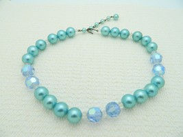 VTG Light Blue Colored Plastic Faceted Prystal Bead Beaded Necklace Choker - $19.80