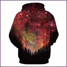 Night Forest Red Painted Universe Long Sleeve Cotton Pullover Hoodie Sweatshirt image 2