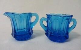 VINTAGE INDIANA ELEGANT GLASS BLUE OPTIC PANEL SMALL CREAMER & SUGAR SET - $9.99