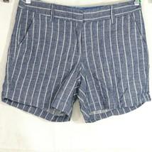 J Crew Shorts Blue White Stripe Women Size 6 Pockets Cotton Style F1215 - $24.74