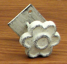 Set of 6 Cast Iron Antique White Flower With Base Drawer Pull Knob - $24.74