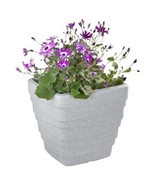 NEW Light Grey Granite Effect Plastic Square Planter Garden Flower Pot D... - $26.08