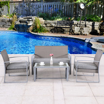4 PC Outdoor Rattan Wicker Patio Furniture Set Sectional Garden Cushione... - $259.99