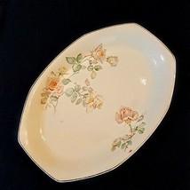 Homer Laughlin Platter 1933 Peach Yellow Rose Yellowstone Shape Meat Pla... - $19.78
