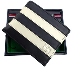 Tommy Hilfiger Men's Leather Wallet Passcase Billfold Navy Bone 31TL22X040