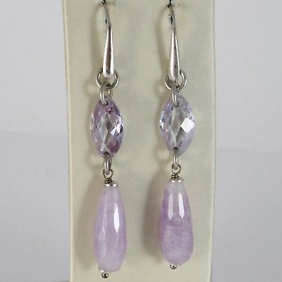 925 STERLING SILVER PENDANT EARRINGS WITH AMETHYST DROP AND MARQUISE CRYSTAL