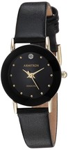 Armitron Women's 75/2447BLK Diamond-Accented Watch with Black Leather Band - $36.50