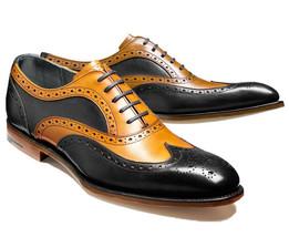 Men Brown Sole Tan Black Tone Magnificiant Leather Party Wear Oxford Shoes - $139.99+