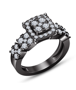 Pure 925 Silver 10k Black Gold Plated Round Cut Diamond Women's Engageme... - $82.95