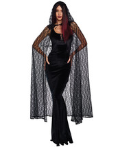 Dreamgirl Black Lace Hooded Gothic Cape Adult Womens Halloween Costume 1... - $19.95